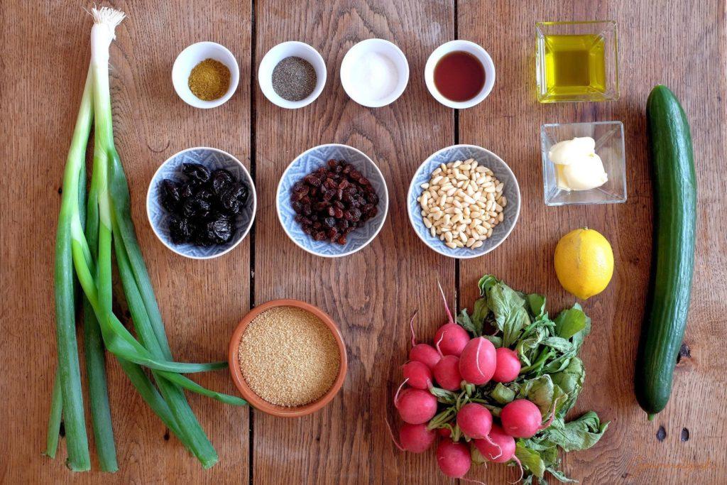 Die Zutaten für den Couscous Salat